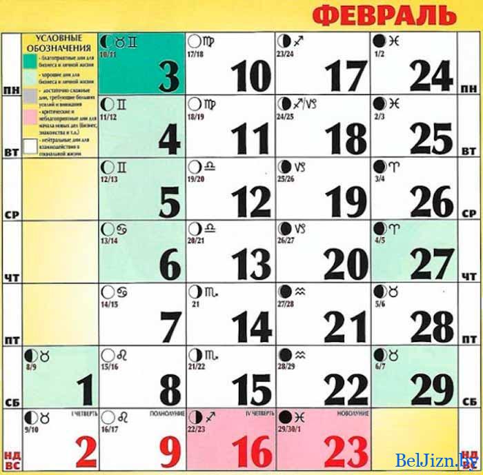 февраль лунный календарь 2020